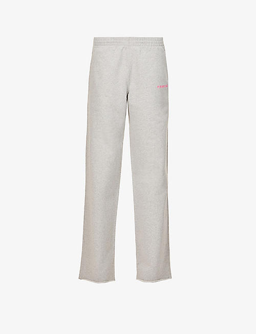 HELMUT LANG: Logo-print high-rise cotton-jersey jogging bottoms