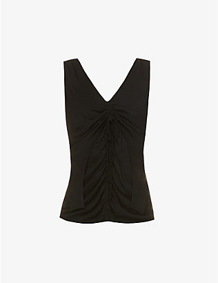 HELMUT LANG: Scala ruched V-neck woven top