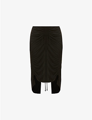 HELMUT LANG: Scala high-waisted woven midi skirt