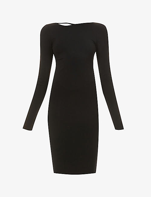 HELMUT LANG: Round-neck stretch-jersey mini dress