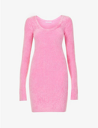 HELMUT LANG: Scoop-neck stretch-knit midi dress