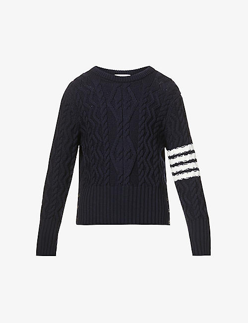 THOM BROWNE: Stripe-detail wool jumper