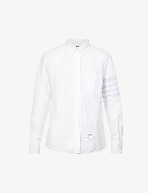 THOM BROWNE: Striped-sleeve slim-fit cotton Oxford shirt