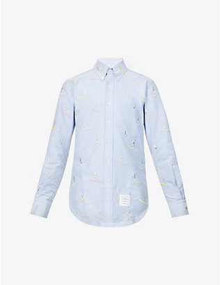 THOM BROWNE: Surfer graphic-pattern cotton shirt