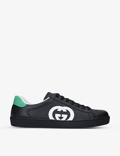 GUCCI: New Ace contrast-logo leather trainers