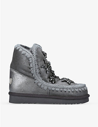 MOU: Eskimo 18 crystal star-embellished metallic sheepskin boots