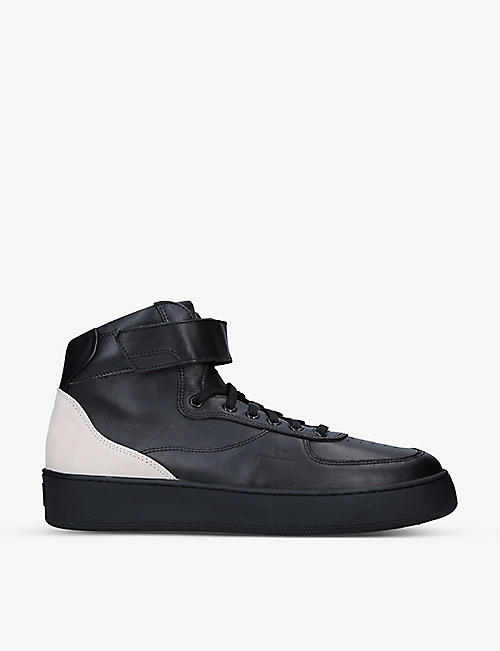 COLD WALL: Rhombus leather mid-top trainers
