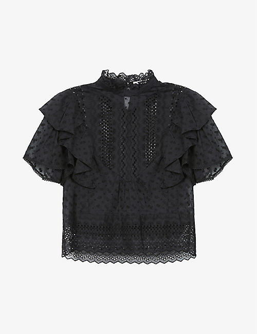 ISABEL MARANT ETOILE: Tizaina embroidered lace cotton top