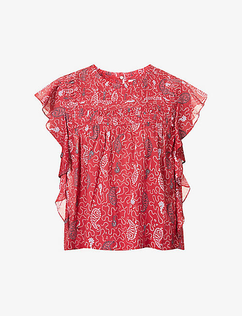 ISABEL MARANT ETOILE: Layona floral-print cotton top