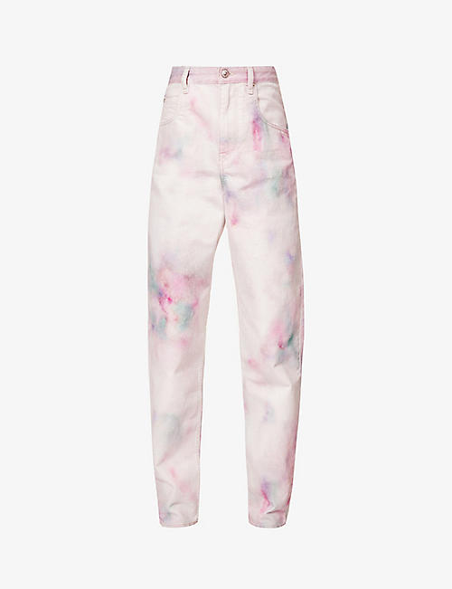 ISABEL MARANT ETOILE: Slim fit high-rise tie-dye jeans