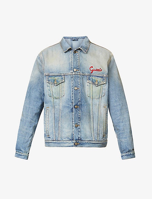 GUCCI: Cat embroidered denim jacket