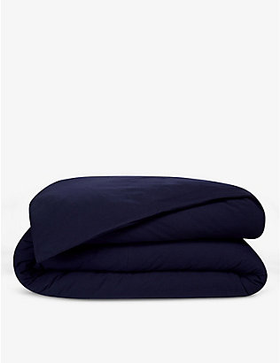 LACOSTE: Piqué logo-embroidered organic-cotton double duvet cover 200cm x 200cm