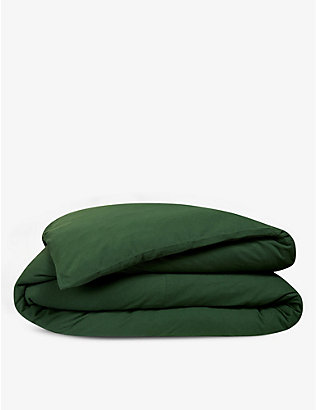 LACOSTE: Piqué logo-embroidered organic-cotton single duvet cover 140cm x 200cm