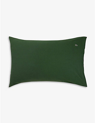 LACOSTE: Piqué Oxford logo-embroidered organic-cotton pillowcase 50cm x 75cm