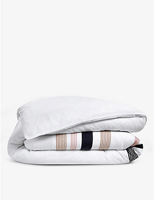 LACOSTE: Bord striped organic-cotton single duvet cover 140cm x 200cm