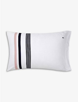 LACOSTE: Bord housewife striped organic-cotton standard pillowcase 50cm x 75cm