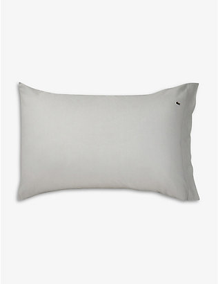 LACOSTE: Piqué housewife logo-embroidered organic-cotton pillowcase 50cm x 75cm