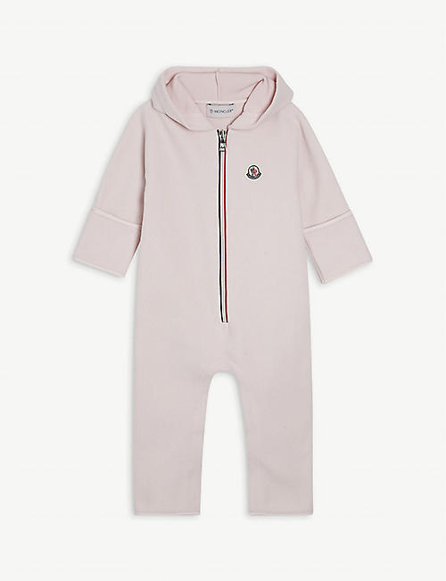MONCLER: Branded fleece all-in-one 1-24 months