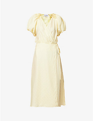 ART DEALER: Rouches polka-dot silk midi wrap dress