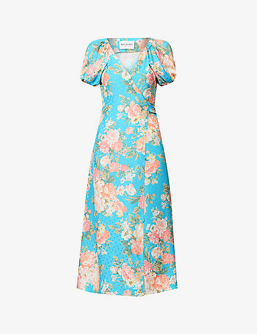 ART DEALER: Elvira floral-print silk midi dress