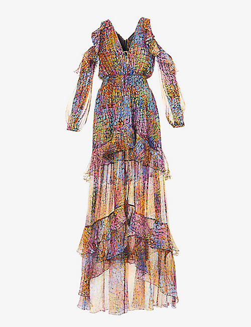 DUNDAS: Abstract-print silk-blend maxi dress