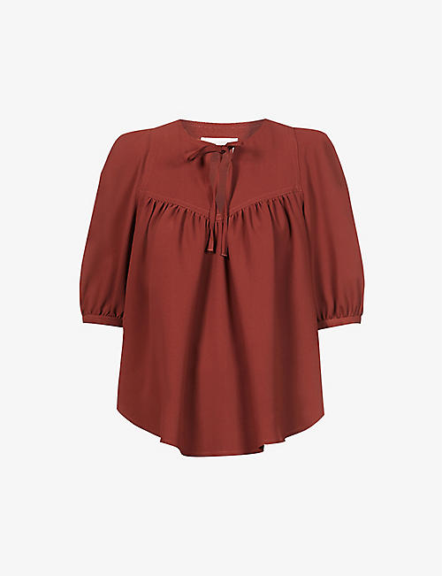 SEE BY CHLOE: Puff-sleeve tie-neck crepe top