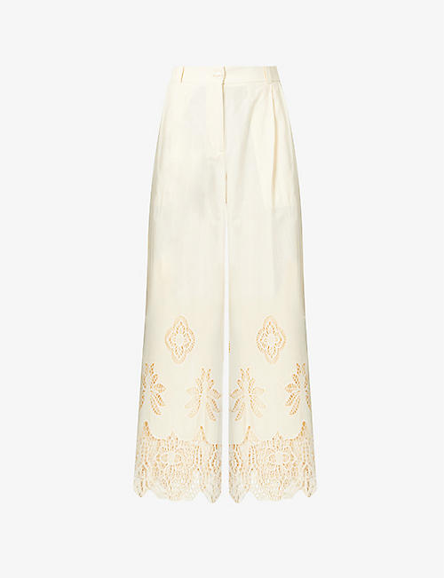 SEE BY CHLOE: Voile floral-embroidered wide-leg mid-rise cotton trousers