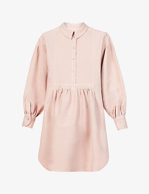 SEE BY CHLOE: Puff-sleeved collared cotton mini dress
