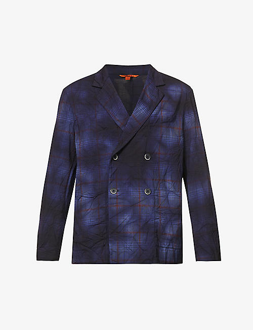 BARENA VENEZIA: Double-breasted checked stretch-wool blazer