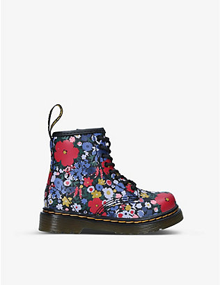 DR MARTENS: Wanderflora floral-print leather boots 3-4 years