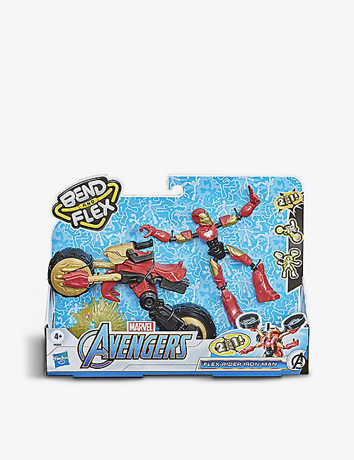 MARVEL AVENGERS: Bend & Flex Rider Iron Man with motorcycle toy