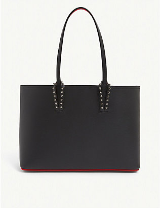 CHRISTIAN LOUBOUTIN: Cabata small stud-embellished leather tote bag