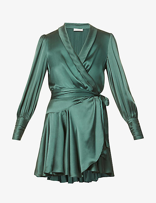 ZIMMERMANN: Ruffled silk-charmeuse mini wrap dress