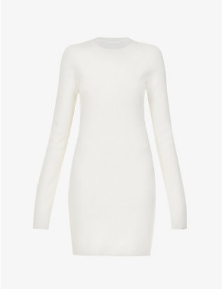 HELMUT LANG: Slash cut-out stretch-woven mini dress
