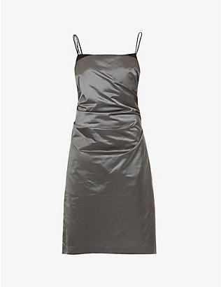 HELMUT LANG: Sleeveless satin mini dress