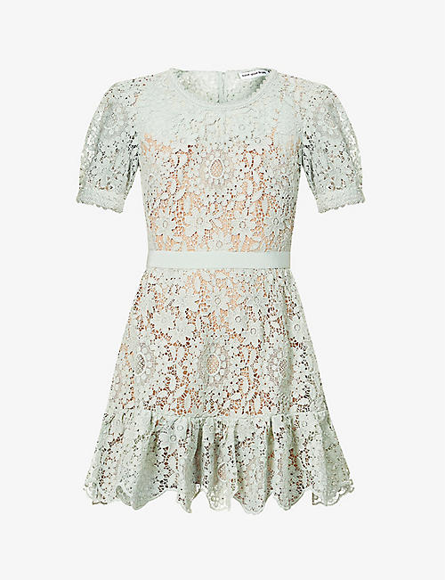 SELF-PORTRAIT: Floral-embroidered lace mini dress