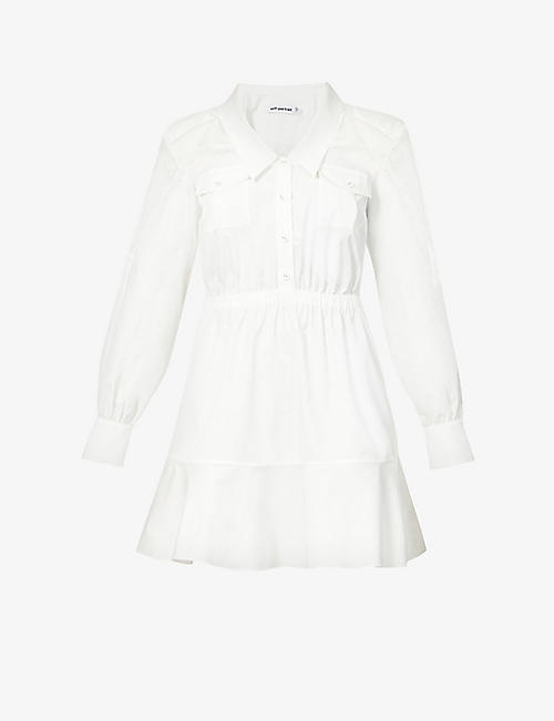 SELF-PORTRAIT: Lace panelled cotton-poplin mini shirt dress