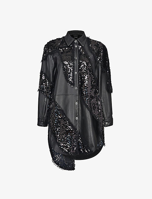 PINKO: PINKO x Patrick McDowell Upcycled Seadas sequinned leather jacket