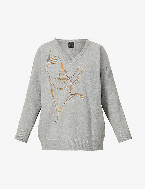 PINKO: Olga illustrated wool-blend jumper