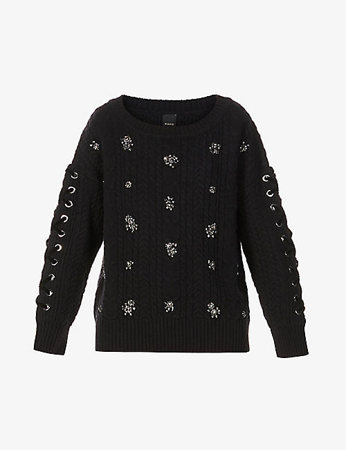PINKO: Embellished wool-blend jumper