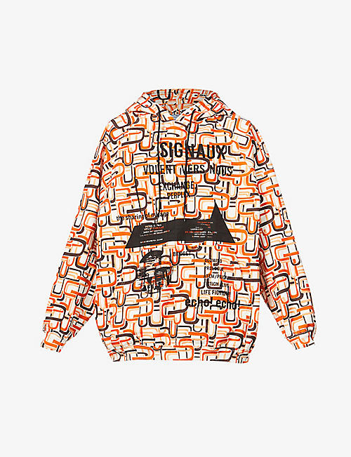 PRADA: Graphic-print oversized cotton-jersey hoody