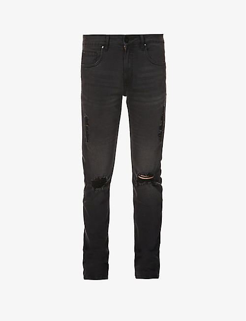 NO.91: Slim Distressed ripped slim-fit jeans