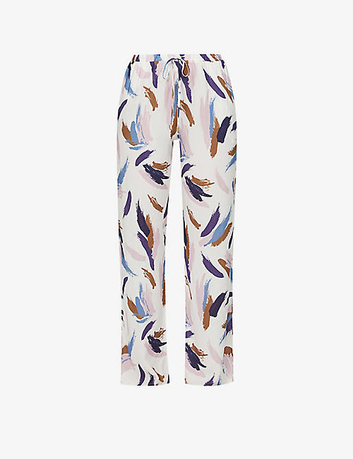 HANRO: Sleep & Lounge graphic-print mid-rise woven pyjama trousers