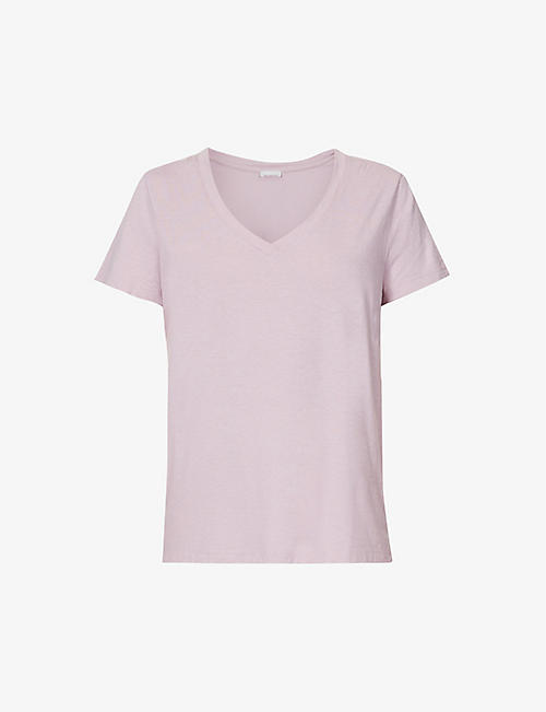 HANRO: Sleep & Lounge V-neck cotton-blend pyjama top