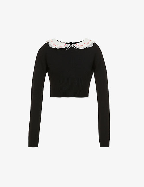 MIU MIU: Embroidered collar-embellished cashmere jumper