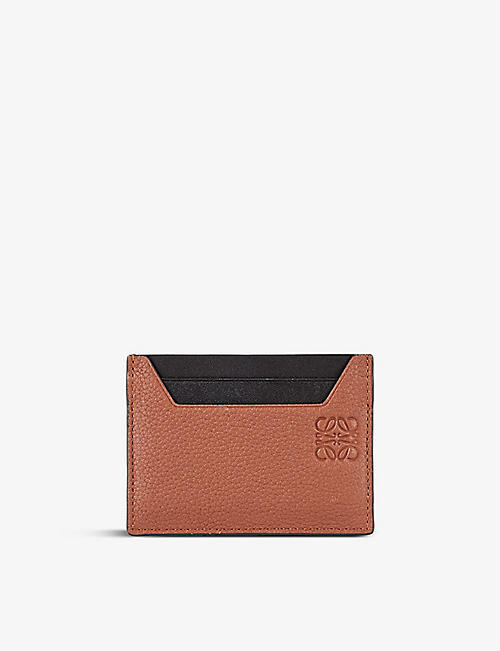 LOEWE: Logo-embossed grained-leather card holder