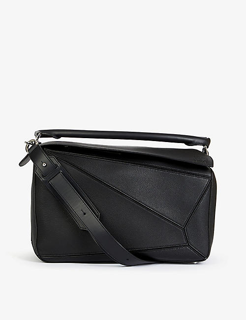 LOEWE: Puzzle extra-large leather and cotton holdall bag