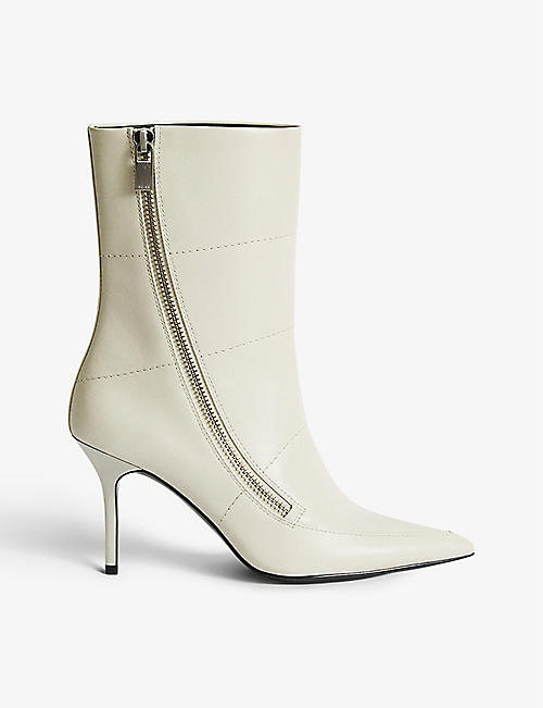 REISS: Hoxton zip-detail leather ankle boots