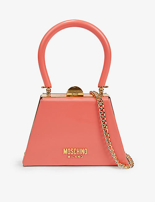 MOSCHINO: Trapezium leather mini tote bag