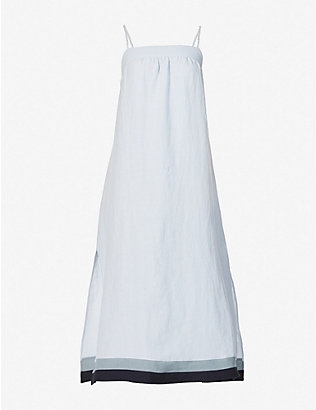 CASA RAKI: Vicky square-neck organic-linen midi dress